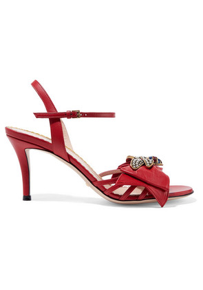 Gucci - Queen Margaret Embellished Leather Sandals - Red
