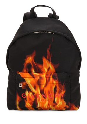 FLAME & LOGO PRINTED NYLON BACKPACK