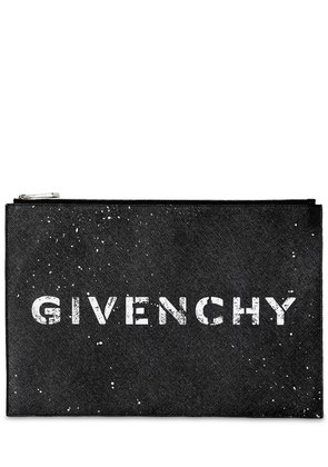 LARGE STENCIL LOGO LEATHER POUCH