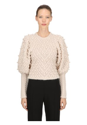 WOOL BLEND KNIT SWEATER W/ POMPOMS