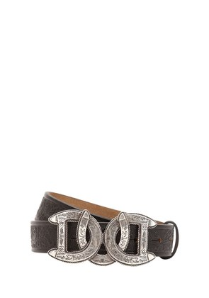 30MM DD BUCKLE EMBOSSED LEATHER BELT