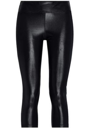 Koral Woman Dynamic Duo Cropped Coated Stretch Leggings Black Size L