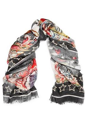 Roberto Cavalli Woman Printed Modal Scarf Red Size ONESIZE