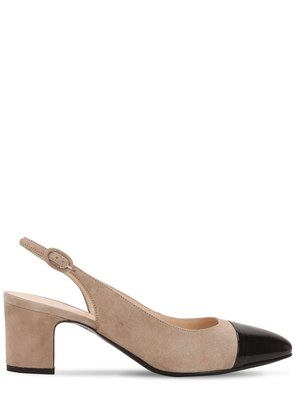 60MM SUEDE & PATENT SLINGBACK PUMPS