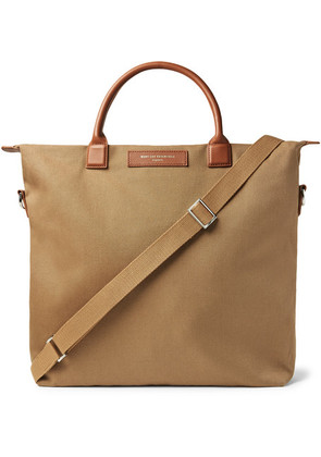 WANT LES ESSENTIELS - O'hare Leather-trimmed Organic Cotton-canvas Tote Bag - Brown