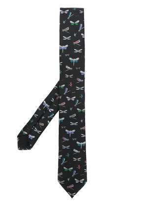 Valentino dragonfly yarn dyed tie - Black