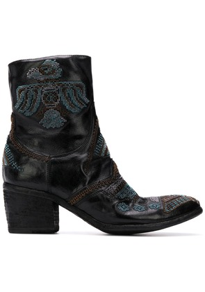 Fauzian Jeunesse embroidered ankle boots - Black