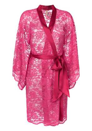 Dolci Follie floral embroidered dressing gown - Pink & Purple
