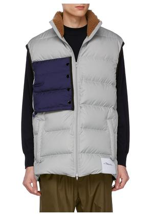 Contrast chest pocket oversized down puffer vest
