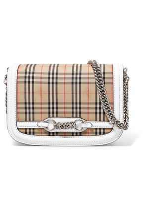 Burberry - Leather-trimmed Checked Cotton-canvas Shoulder Bag - White