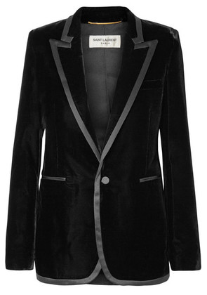 Saint Laurent - Satin-trimmed Velvet Blazer - Black