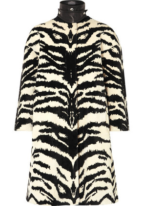 Alexander McQueen - Leather-trimmed Zebra-jacquard Coat - Ivory
