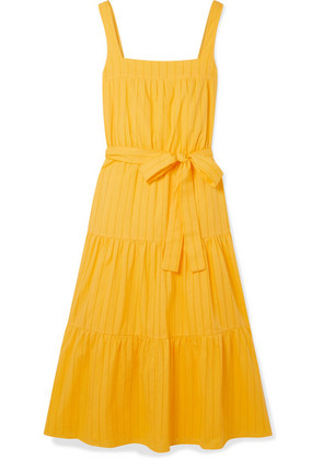MICHAEL Michael Kors - Pointelle-trimmed Cotton-poplin Midi Dress - Saffron