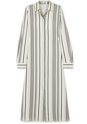 Jil Sander - Striped Silk Shirt Dress - White