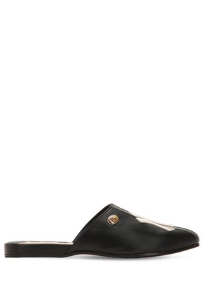 FLAMEL LEATHER MULES W/ NY DETAIL