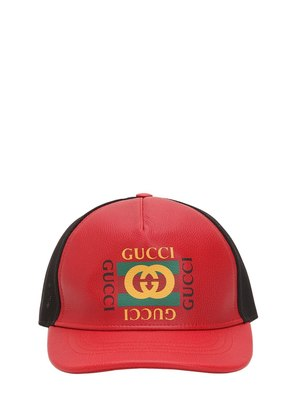 VINTAGE GUCCI LEATHER TRUCKER HAT