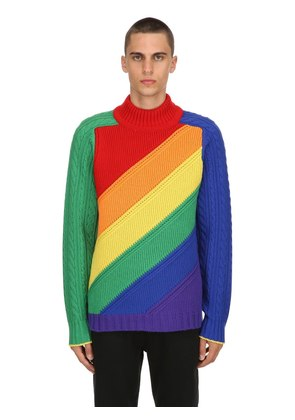 RAINBOW WOOL & CASHMERE KNIT SWEATER