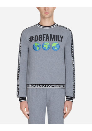 Dolce & Gabbana Sweaters - SWEATSHIRT IN #DGFAMILY PRINTED COTTON AND PATCH GRAY