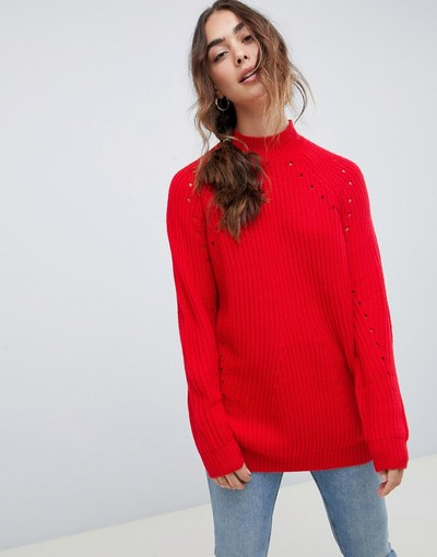 Chinese High Moda Jumper Vero com Milanstyle Knitted Neck Red xR4WUw