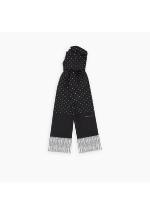 Black and White Spotted Silk Scarf