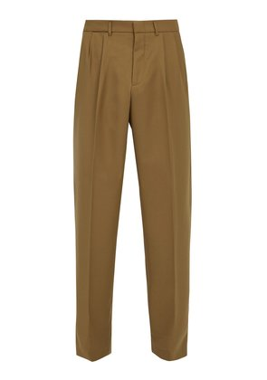 Mid-rise pleated twill trousers