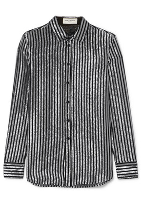 Saint Laurent - Striped Lamé And Silk-chiffon Shirt - Black