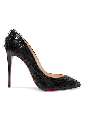 Christian Louboutin - Pigalle Follies 100 Fringed Patent-leather Pumps - Black