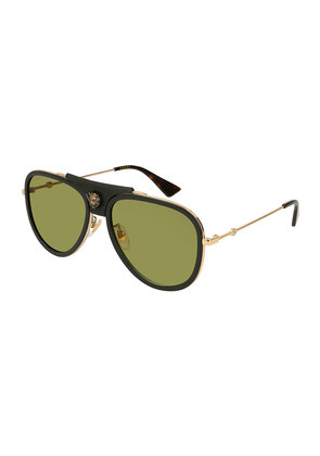 Enamel Web Metal Aviator Sunglasses