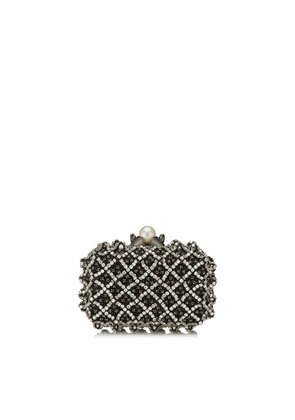 CLOUD Black Satin Clutch Bag with Crystal Bead Embroidery
