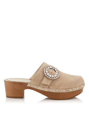 DORALIE 55 Nude Suede Clogs with Crystal Buckle Detailing