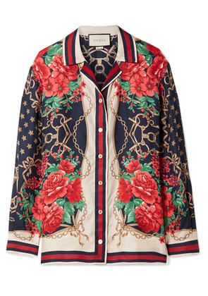 Gucci - Oversized Printed Silk-twill Shirt - Red