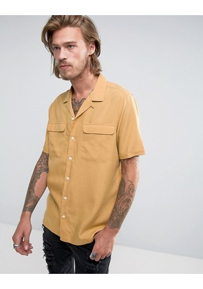 ASOS Regular Fit Shirt With Revere Collar In Mustard - Mustard