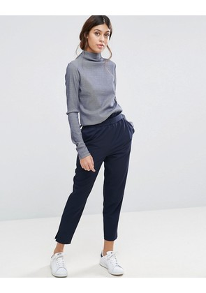 ASOS High Waisted Paper Bag Trousers - Navy
