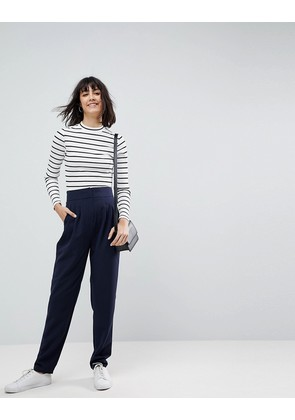 ASOS Tailored Tapered Trousers with Slouch Cuff - Navy