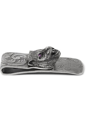 Engraved Sterling Silver Crystal Money Clip