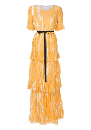 Christopher Esber ruched long dress - Yellow
