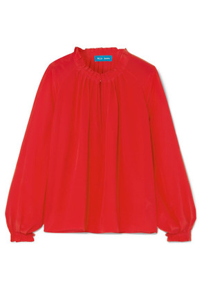 M.i.h Jeans - Sidi Pleated Silk Crepe De Chine Top - Red