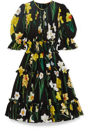 Dolce & Gabbana - Floral-print Silk-chiffon Dress - Black