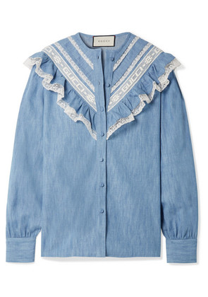 Gucci - Lace-trimmed Cotton-chambray Shirt - Light blue
