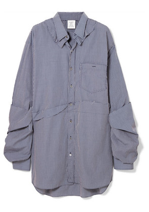 Vetements - Oversized Distressed Checked Cotton-poplin Shirt - Blue