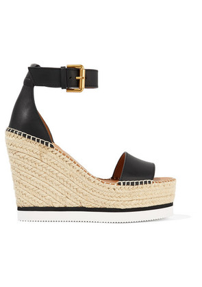 See By Chloé - Leather Espadrille Wedge Sandals - Black