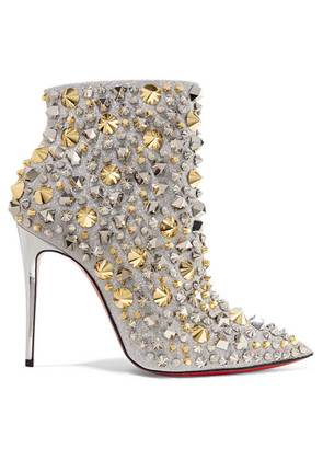 Christian Louboutin - So Full Kate 100 Embellished Glittered Leather Ankle Boots - Silver