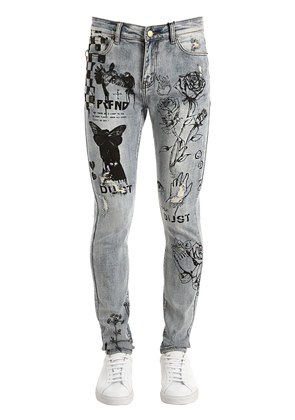 SKINNY PRINTED & DESTROYED DENIM JEANS