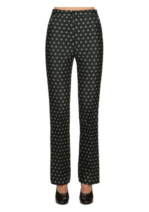FLARED FLORAL JACQUARD TAILORED PANTS