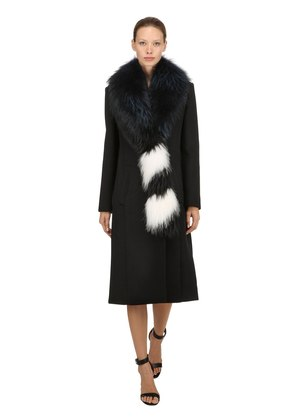 WOOL BLEND COAT W/ FUR COLLAR