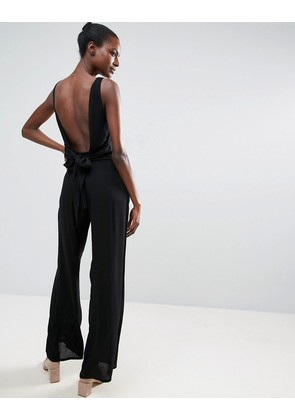 ASOS Jumpsuit in Crinkle with Tie Waist and Open Back - Black