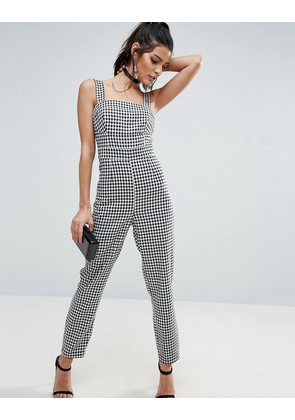 ASOS Jumpsuit in Gingham Print with Structured Bodice - Mono