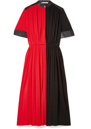 Givenchy - Leather-paneled Pleated Stretch-jersey Midi Dress - Red