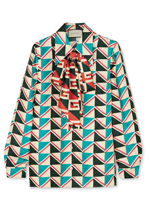 Gucci - Pussy-bow Printed Silk-twill Shirt - Green