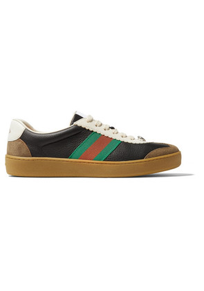 Gucci - G74 Textured-leather And Suede Sneakers - Black